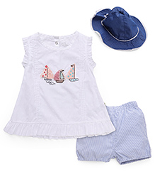 Gini & Jony Top Shorts & Cap Set Boat Embroidery - White & Blue