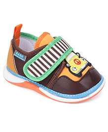 Bash Casual Car Patch Shoes With Velcro Closure - Brown