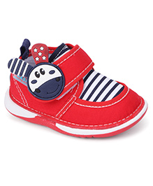 Bash Casual Shoes With Motif On The Velcro Closure - Red