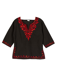 Pikaboo Full Sleeves Kurti Floral Embroidery - Black Red