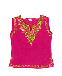 Pikaboo Sleeveless Kurti Floral Embroidery - Fuchsia