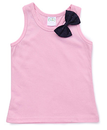 Babyhug Racer Back Top With Bow Applique - Baby Pink
