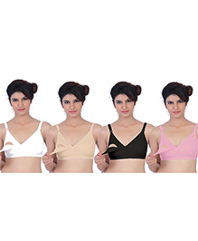 Fabme Nursing Bra Pack Of 4 - White Beige Black Pink