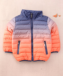 One Friday Boys Tie Dye Winter Padded Jacket For Boys - Blue & Orange