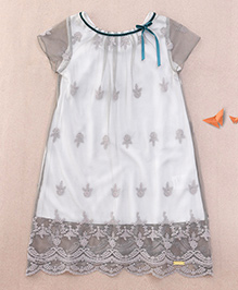 One Friday Girls Embroidered Lace Top - Grey