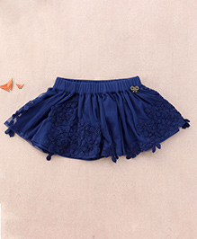 One Friday Embroidered Skirt - Navy Blue