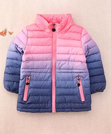 One Friday Girls Tie Dye Zipper Padded Jacket For Girls - Pink & Navy Blue
