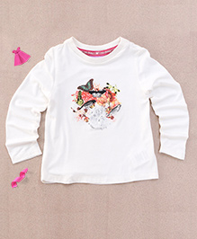 One Friday Flower Bird Print Top - Off White