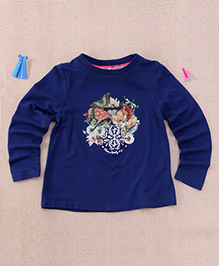 One Friday Flower Bird Print Top - Navy Blue