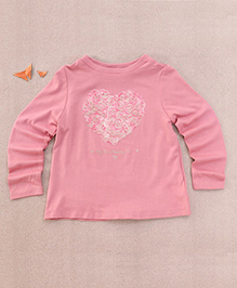 One Friday Full Sleeve Heart Print T-Shirt - Bright Pink