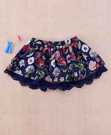 One Friday Floral Print Skirt With Lace - Blue