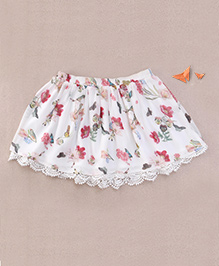 One Friday Floral Print Skirt With Lace - White & Multicolour