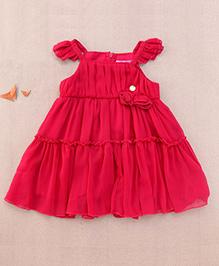 One Friday Rosette Frilly Dress - Fuchsia