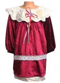 Bambini Party Wear Frock With Satin Rose And Ribbons - Maroon And White