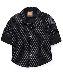 Little Kangaroos Full Sleeves Printed Shirt - Black