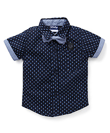 Play by Little Kangaroos Half Sleeves Printed Shirt With Bow - Navy Blue