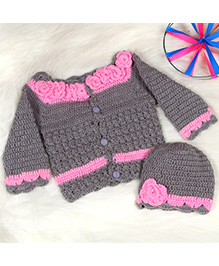 The Original Knit Flower Embellished Sweater & Cap - Grey & Pink