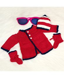 The Original Knit Sweater Set With Stripped Cap & Socks - Magenta White & Blue