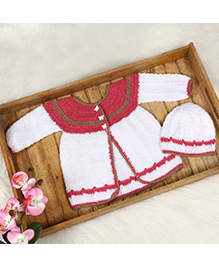 The Original Knit Butterfly Button Sweater Set With Cap - White & Pink