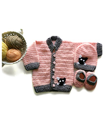 The Original Knit Cat Embellished Sweater Set With Cap & Booties - Baby Pink & Grey