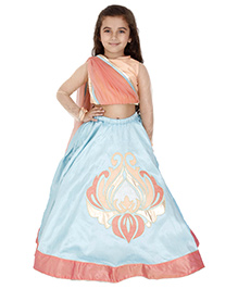 Kidology New Abstract Lehnga & Blouse With Attached Dupatta - Peach & Mint