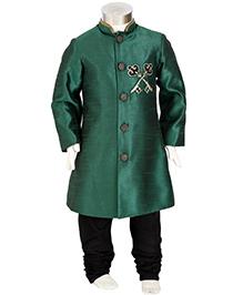 Kidology Key Design Sherwani With Churidar - Green