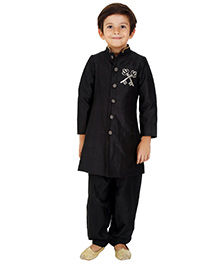 Kidology Key Design Sherwani With Salwar - Black