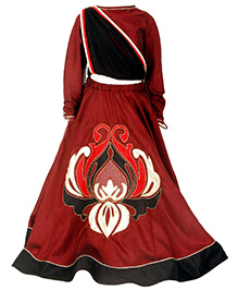 Kidology New Abstract Lehnga & Blouse With Attached Dupatta - Maroon & Black
