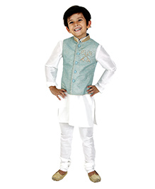 Kidology Key Design Vest With Kurta & Pajama Set - Mint & Off White