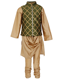 Kidology Jaal Zippered Vest With Draped Kurta & Pajama - Green & Gold