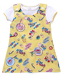 Child World Frock with Inner Top Candy Queen Print - Yellow