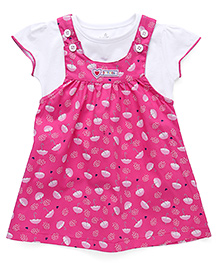 Child World Frock with Inner Top Umbrella Print - Pink