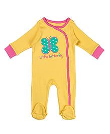 Beebay Full Sleeves Sleepsuit Butterfly Print - Yellow
