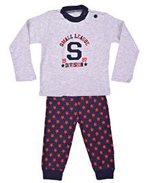 Kuddle Kids Star Print Top & Pajama Set - Grey & Red