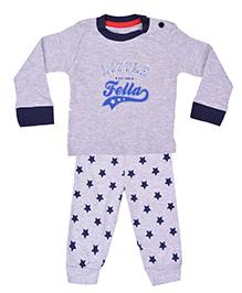 Kuddle Kids Star Print Top & Pajama Set - Grey & Navy Blue