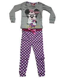 Kuddle Kids Mouse Print Top & Pajama Set - Purple & Grey