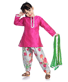 Little Pockets Store Ethnic Suit For Girls - Pink