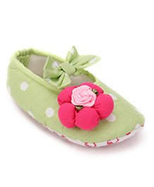 D'chica Flower Applique Booties For Baby Girls - Green