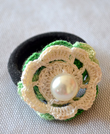 Pretty Ponytails Pearl Hand Crocheted Hair Tie - Green & White