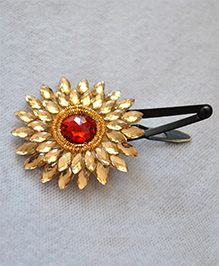 Pretty Ponytails Large Zardozi Flower Crystal Clip - Red And Golden