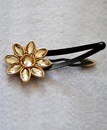 Pretty Ponytails Zardozi Flower Crystal Clip - Golden