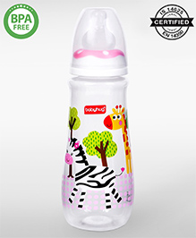 Babyhug Drop Feeding Bottle Pink - 250 Ml