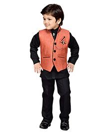 Aj Dezines Indo Western Waistcoat Set - Black Orange
