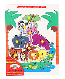 Little Genius Puzzle Counting Animals And Birds With Knob - Multi Color
