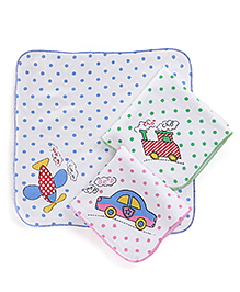 Child World Hand And Face Towels Set of 3 - White Pink Green Blue