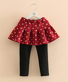Pre Order - Mauve Collection Polka Dot Print Skirt Style Leggings - Red