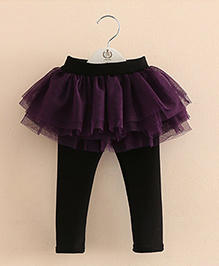 Pre Order - Mauve Collection Classy Lace Skirt Style Leggings - Wine