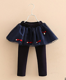 Pre Order - Mauve Collection Cute Skirt Style Leggings With Embellishment - Blue