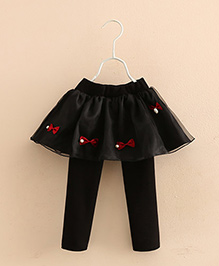 Pre Order - Mauve Collection Cute Skirt Style Leggings With Embellishment - Black