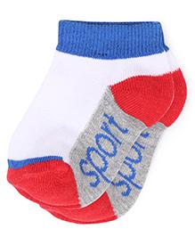 Babyhug Ankle Length Socks - White Grey Red